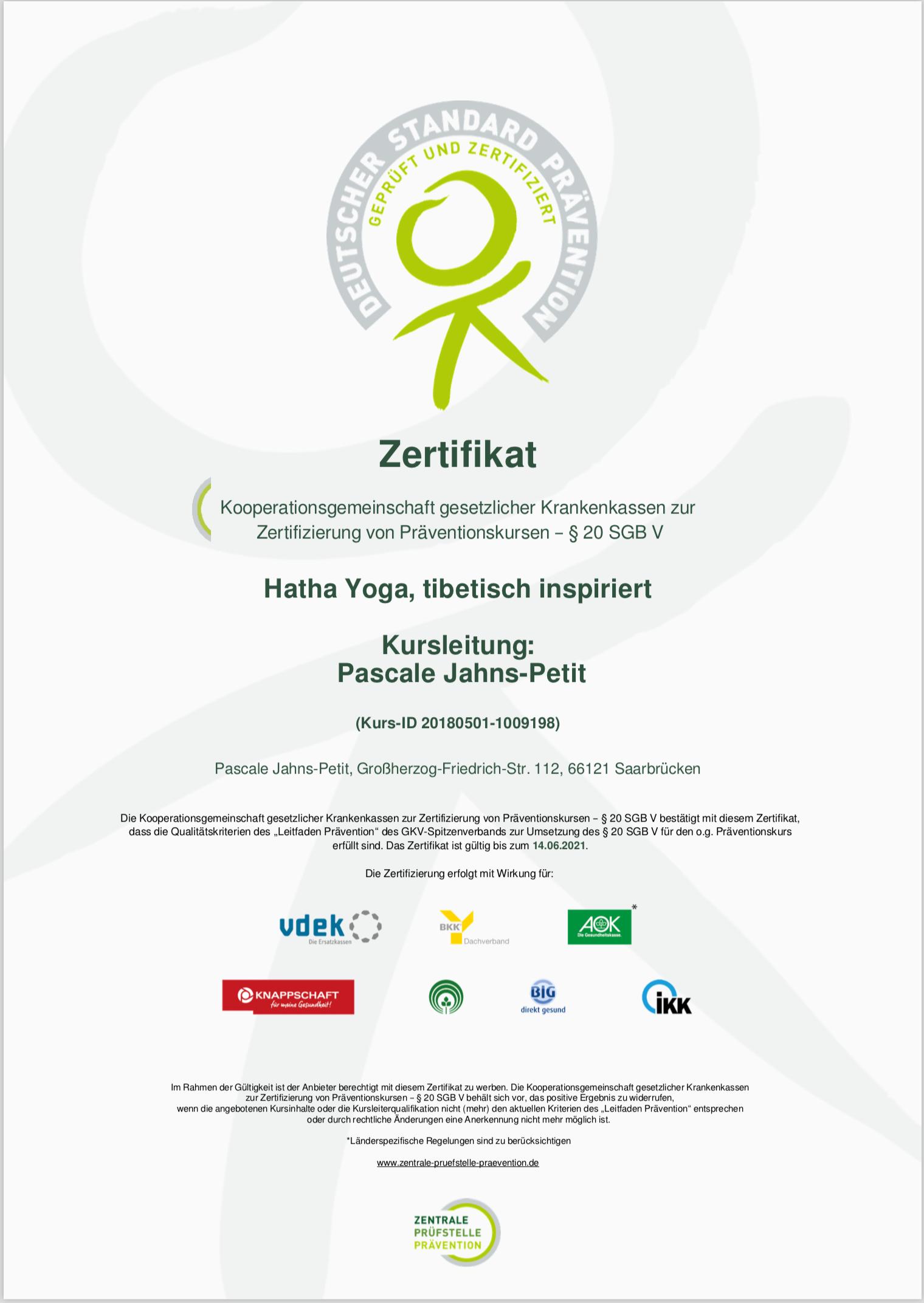 Zertifikat der Prüfstelle Prävention